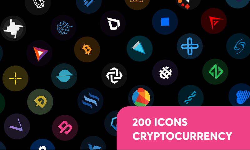 200 Cryptocurrency Icons