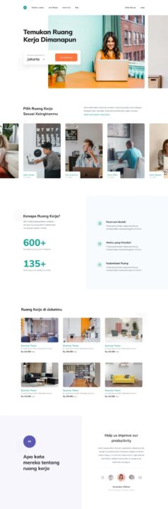 Coworking Space Landing Page Design Free | TemplateDuo
