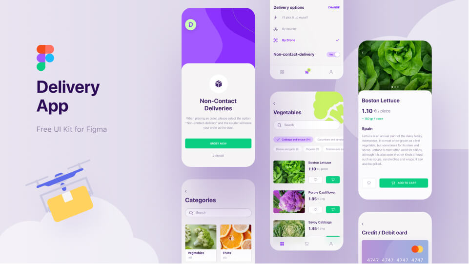 Delivery App UI Kit Free