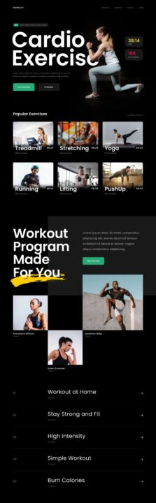 Fitness Landing Page Design Free | TemplateDuo