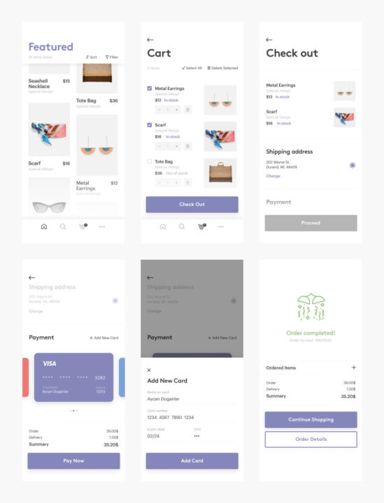 Check Out App UI Kit Free | TemplateDuo