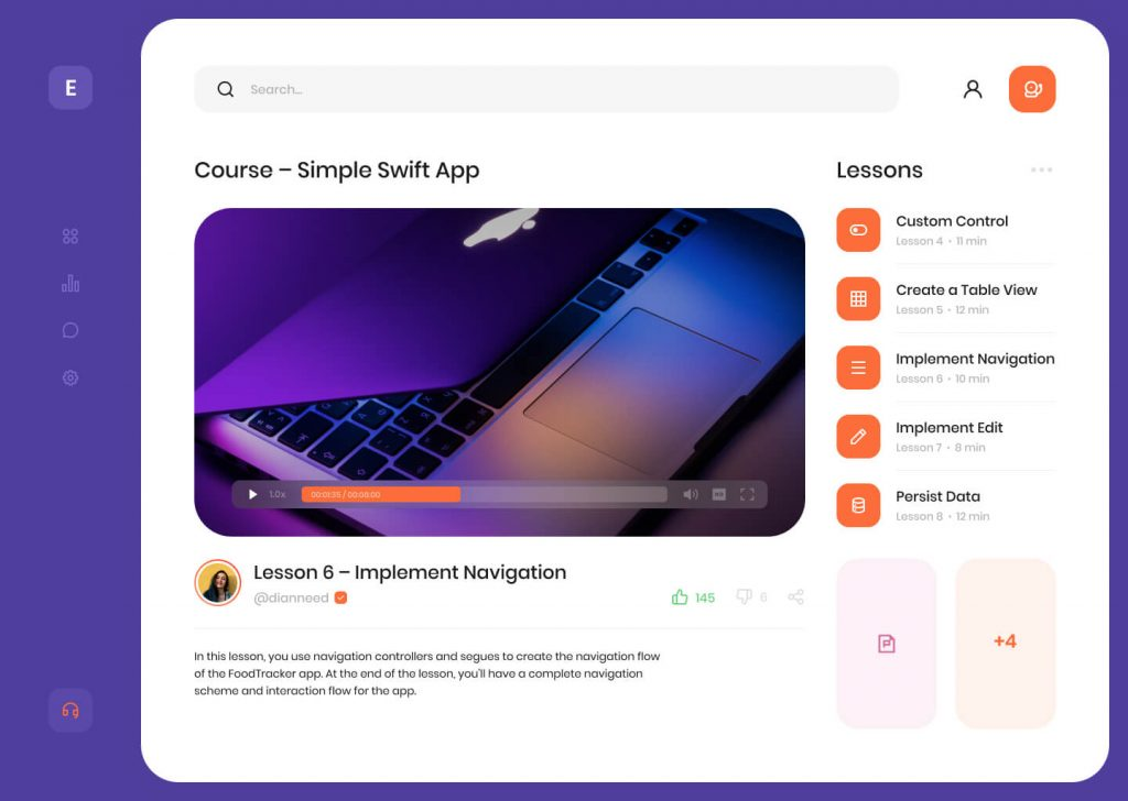 Online Learning Dashboard Design Free   TemplateDuo