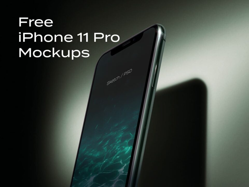 iPhone 11 Pro Perspective Mockup Free