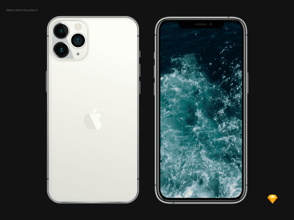 iPhone 11 Pro Silver Mockup Free For Sketch