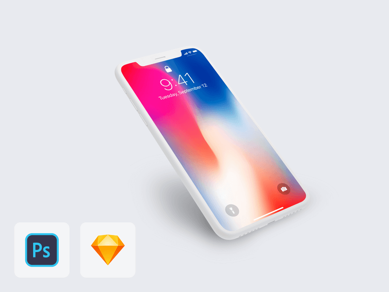 iPhone X Perspective Clay Mockup