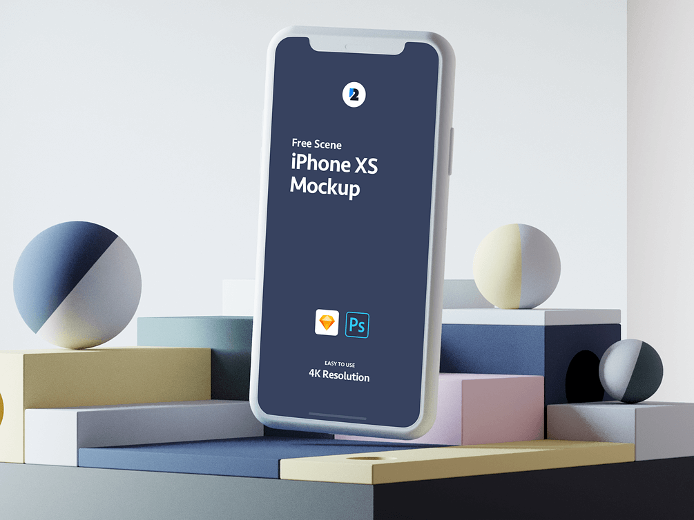 iPhone XS White Scene Mockup For Sketch   TemplateDuo